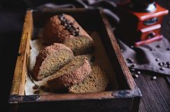 Coffee loaf cake studded with cocoa powder royalty free stock photography
