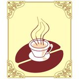 Coffee logo. Art illustration: cup of coffee as a logo, with a border Stock Photography