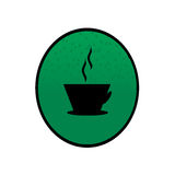 Coffee logo. Logo with coffee cup on green background Stock Photography