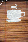 Coffee logo on bamboo curtain Royalty Free Stock Photo