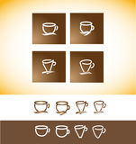 Coffee logo cup contour line drawing Stock Photo
