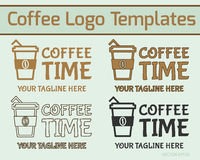 Coffee Logo Design. Modern logotype style in line, fill and silhouette design. Business theme. Can be used as icon, logo, badge, on facades of restuarants Royalty Free Stock Images