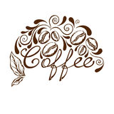 Coffee logo. Handwritten coffee, coffee twigs with leaves and berries, coffee beans Royalty Free Stock Photos