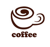 Coffee logo. Helical line in the form of stylized coffee cup. Sign. Template of logotype. Coffee logo. Icon. Vector and raster versions Stock Photo