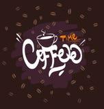 Coffee logo illustration, grunge  background. Stock Images