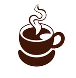 Coffee logo. Stylized image of a cup of coffee with steam and saucer. Sign. Template of logotype. Coffee logo. Icon. Vector and raster versions Royalty Free Stock Photo