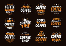 Coffee logo. Vector labels and icons. Collection elements for menu design restaurant. Coffee logo. Collection elements for menu design restaurant or cafe Stock Image