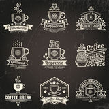 Coffee logos. Emblems for coffee shop in vintage style. Cup of coffee. Grunge texture grouped separately and is easily removed royalty free stock image