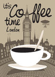 Coffee london. Cup of coffee on a background of London and Big Ben Royalty Free Stock Photo