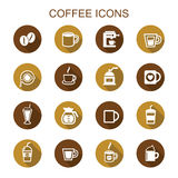 Coffee long shadow icons Royalty Free Stock Image