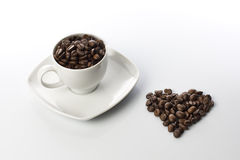 Cup Coffee Love Heart Beans Royalty Free Stock Photos