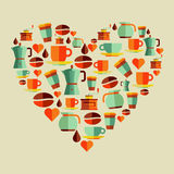 Coffee love beans illustration Royalty Free Stock Image