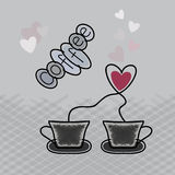 Coffee with love. A cup of coffee, logo, design element. Stock Photography