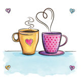 Coffee Love. Cups Love Background Kitchen Decor. Royalty Free Stock Image