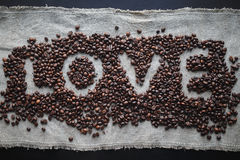 Coffee love heart. Coffee love cafe heart beans espresso background Stock Photo