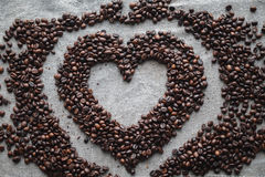 Coffee love heart. Coffee love cafe heart beans espresso background Stock Image