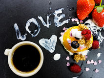 Coffee love hearts dessert strawberry blueberry  raspberry pudding mango yogurt Royalty Free Stock Images