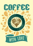Coffee with love. Typographic retro poster for cafe. Vector illustration. Stock Photography