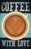 Coffee with love. Typographic retro poster for cafe. Vector illustration. Royalty Free Stock Images