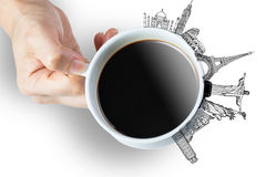 Coffee lover from all around the world with worldwide landmark Stock Photo