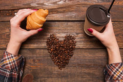 Coffee lover in cafe top view stock photos