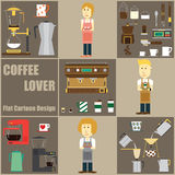 Coffee Lover Cartoon and Icon Design Stock Image