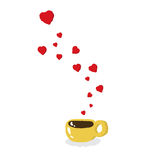 Coffee lover flying hearts from coffee cup Royalty Free Stock Photos