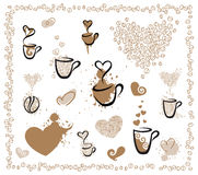 For coffee lovers. Vector elements for coffee lovers Stock Photos