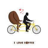 Coffee lovers. Coffee beans on bicycle. Lovers of cycling tandem. Romantic date. Romantic illustration undershot Stock Images