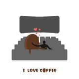 Coffee lovers. Coffee beansc Places for kisses on last row. Love Stock Photo