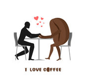 Coffee lovers. Lover in cafe. Man and coffee beans sitting at ta Stock Photography