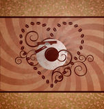 Coffee loving grunge brown background with swirls Royalty Free Stock Photo