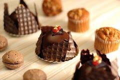 Coffee macarons, chocolate cake and muffin . Tasty coffee macarons with coffee beans isolated on white. Dark chocolate cake. An espresso walnut muffin isolated Royalty Free Stock Photos