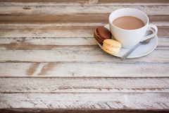Coffee and macarons with empty place Royalty Free Stock Images