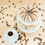 Coffee macarons on a stand Royalty Free Stock Images