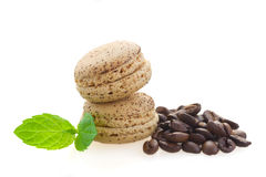 Coffee   macaroons with raw beans Stock Photo