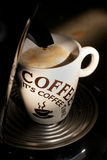 Coffee machine. Fresh hot coffee made with coffee machine Stock Images