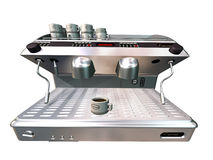 Coffee machine. Computer image, coffee machine , 3D isolated background Royalty Free Stock Image