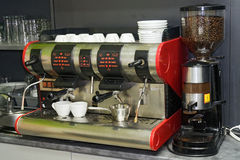 Coffee machine. The coffee machine in sweetshop Stock Photo