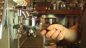 Coffee machine and the barista. Barista at the Coffee Machine stock footage