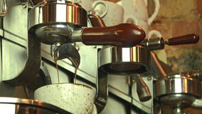 Coffee machine and the barista. Barista at the Coffee Machine stock video footage