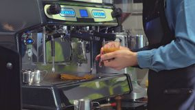 Coffee Machine and Barista stock footage