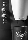 Coffee machine with black cup Stock Photo