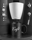 Coffee machine with black cup Stock Photos