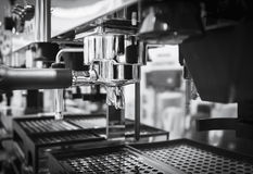 Coffee machine Cafe restaurant Black and white Stock Image