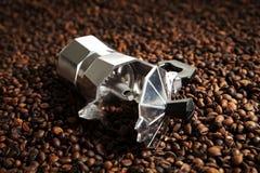 Coffee machine in coffee beans. Classic coffee machine in coffee beans royalty free stock photography