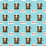 Coffee machine and coffee cups seamless pattern Royalty Free Stock Images