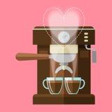 Coffee machine and coffee cups Stock Photos