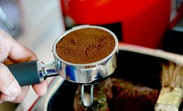 Coffee Machine In coffee Shop. Coffee latte art in coffee shop and good smell Stock Images