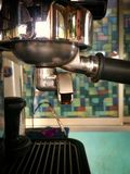 Coffee machine and hot espresso. Drink Stock Image